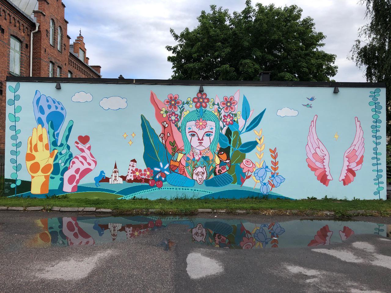 Ny muralmålning på Norr i Katrineholm.