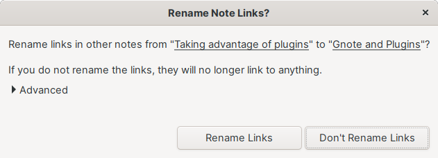 Being prompted to rename a link in Gnote