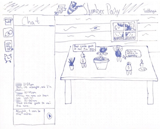 An early sketch of the Slumber Party interface and room.