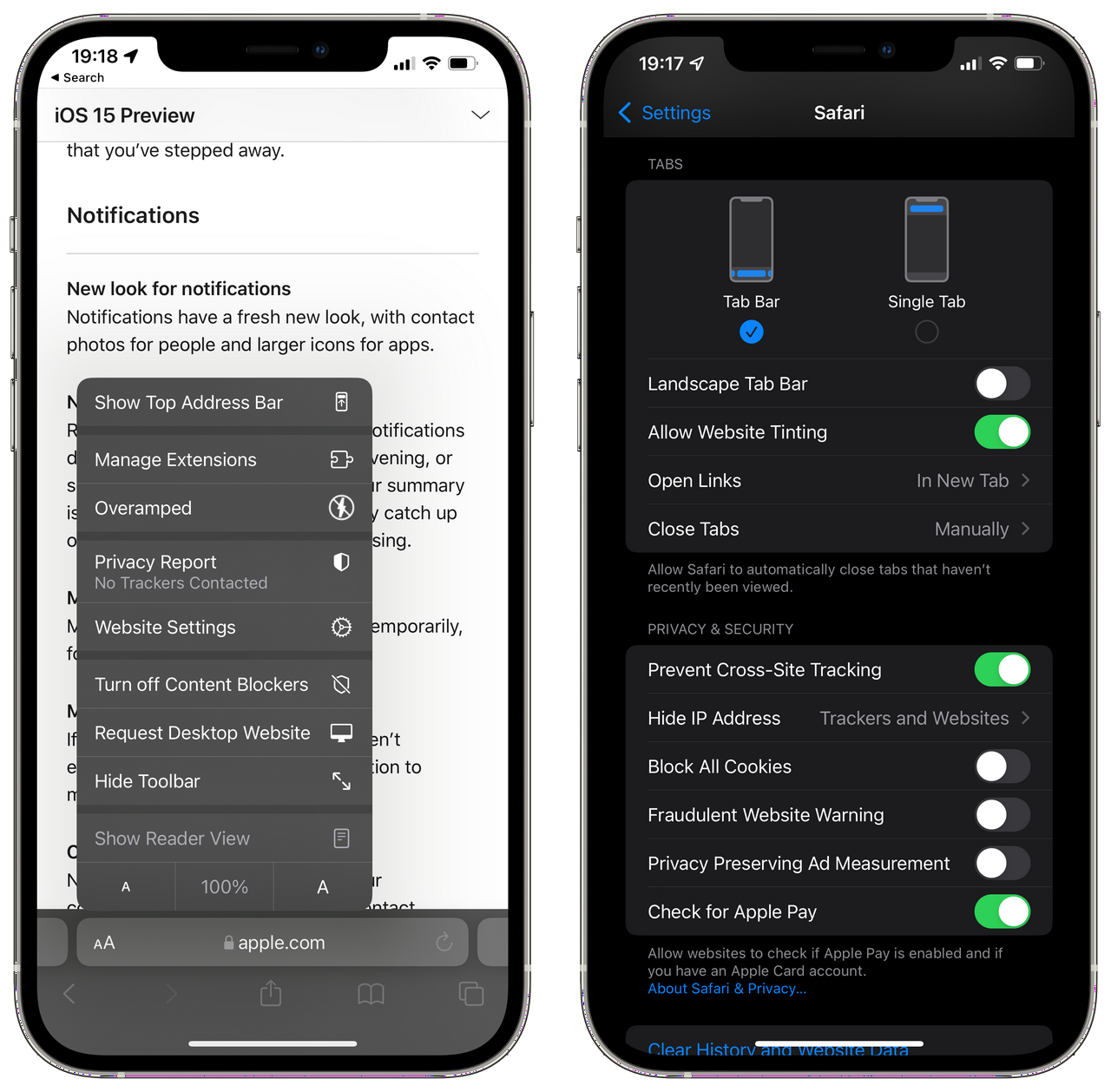 Safari Settings in iOS 15