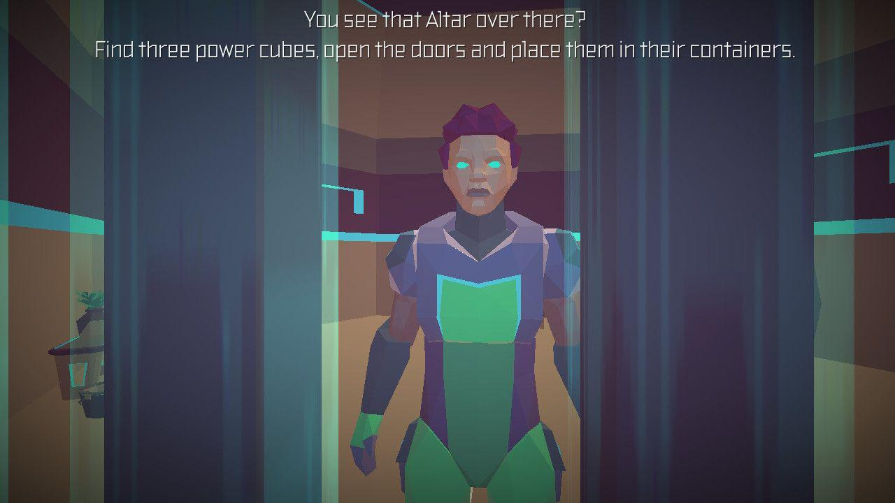 "A person behind bars in a grey and green space suit, there is white text above them in which they are saying ""You see that Altar over there? Find three power cubes, open the doors and place them in their containers."""