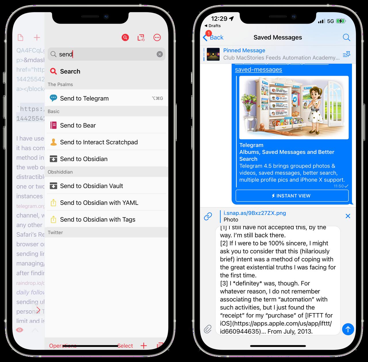 Send to Telegram Drafts Action