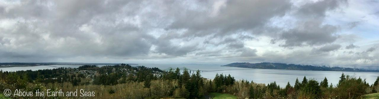 Panorama overlooking Astoria, Oregon and the Columbia River.
