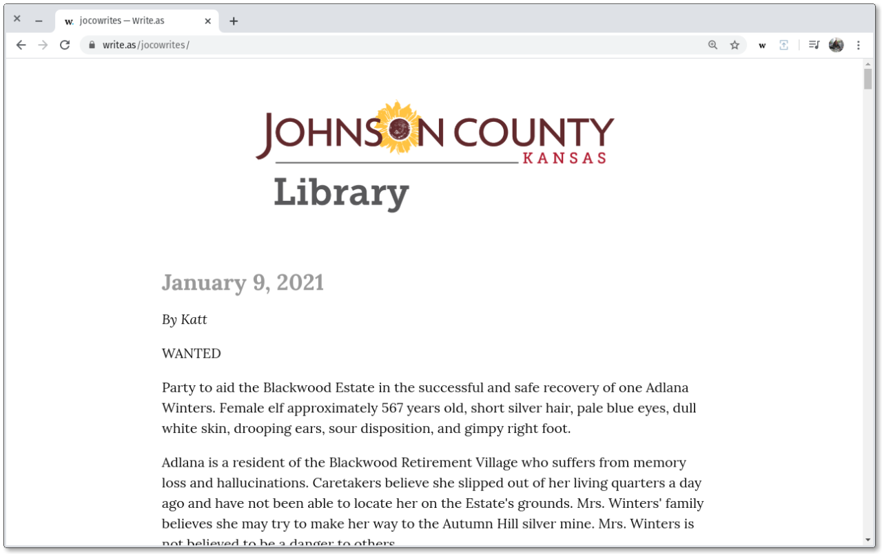Johnson County Library's Write.as blog.