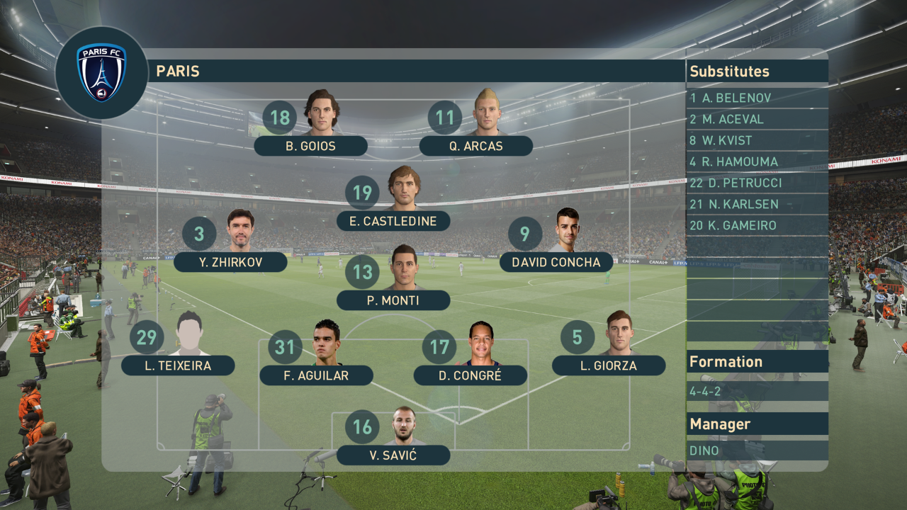This is what my typical lineup looked like, during a game in the 2022-2023 Master League season in PES 2019.