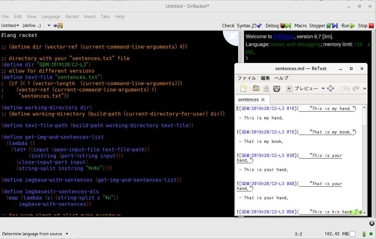 Dr Racket Screenshot of text to markdown script
