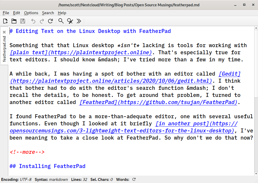 Editing a text file in FeatherPad