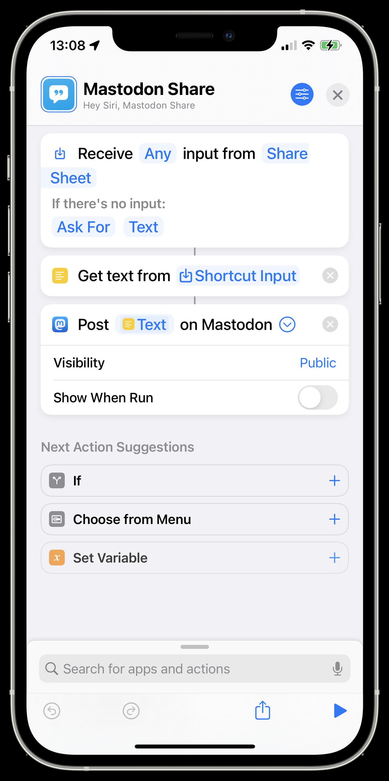 Mastodon Share Siri Shortcut