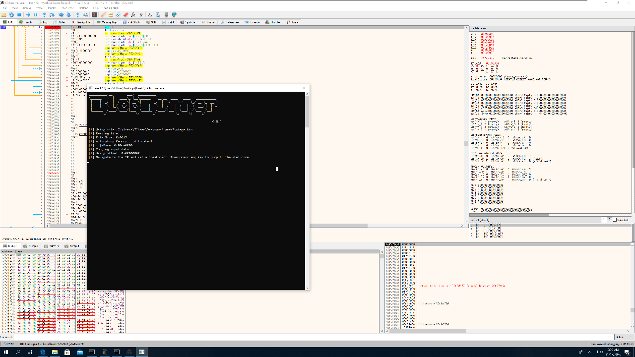 Debugging the shellcode with Blobrunner and x64dbg.