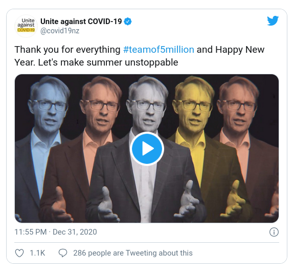 Screenshot of a tweet by covid19nz, dated 11.55 PM Dec 31 2020, with the text, Thank you for everything [hashtag] team of 5 million and Happy New Year