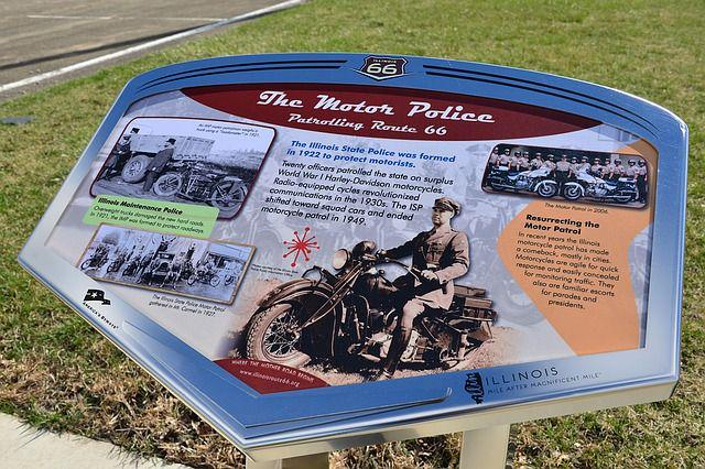 A roadside plaque in Illinois commemorating the state police