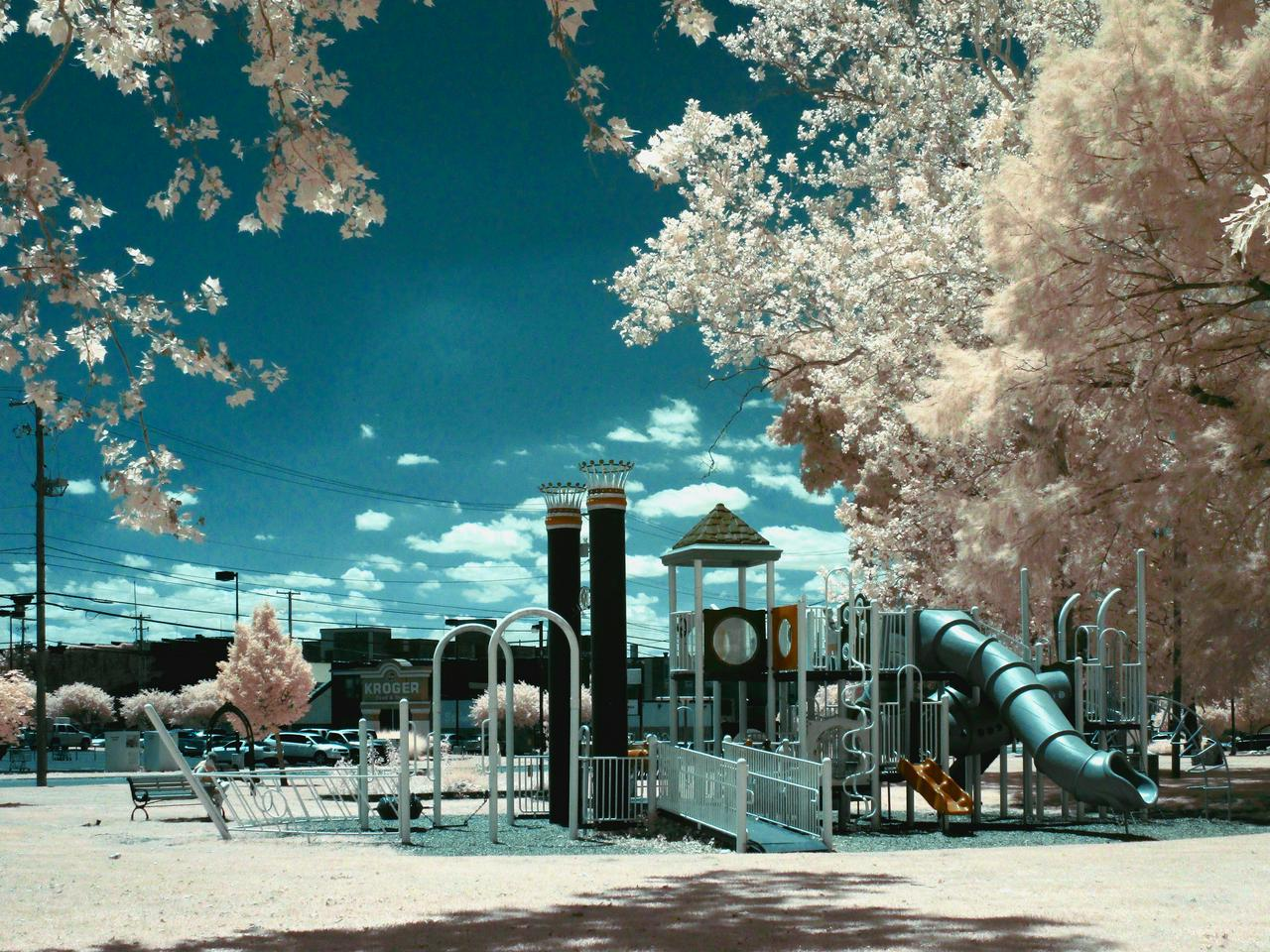 Exterior shot of playground that looks like a river boat