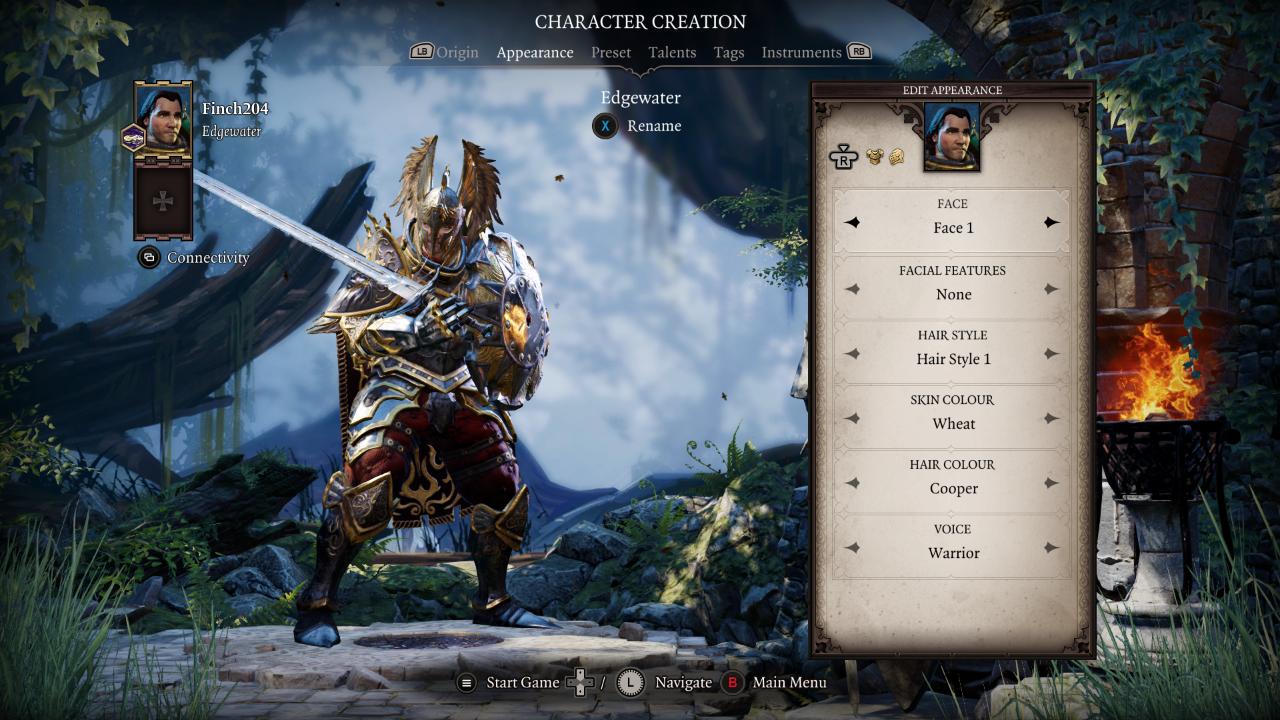 Character creation full armor