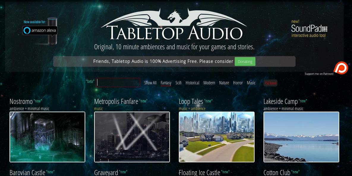 Screenshot von Tabletop Audio, einer Website mit phantastischer Ambientemusik