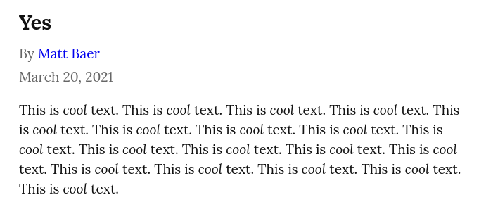 A screenshot of a new Write.as post, under the title it says 'By Matt Baer', followed by the date.