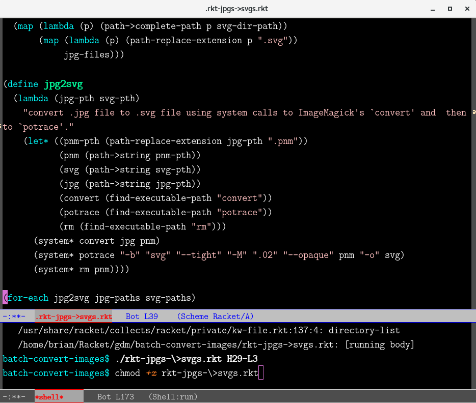 Emacs script and shell buffers