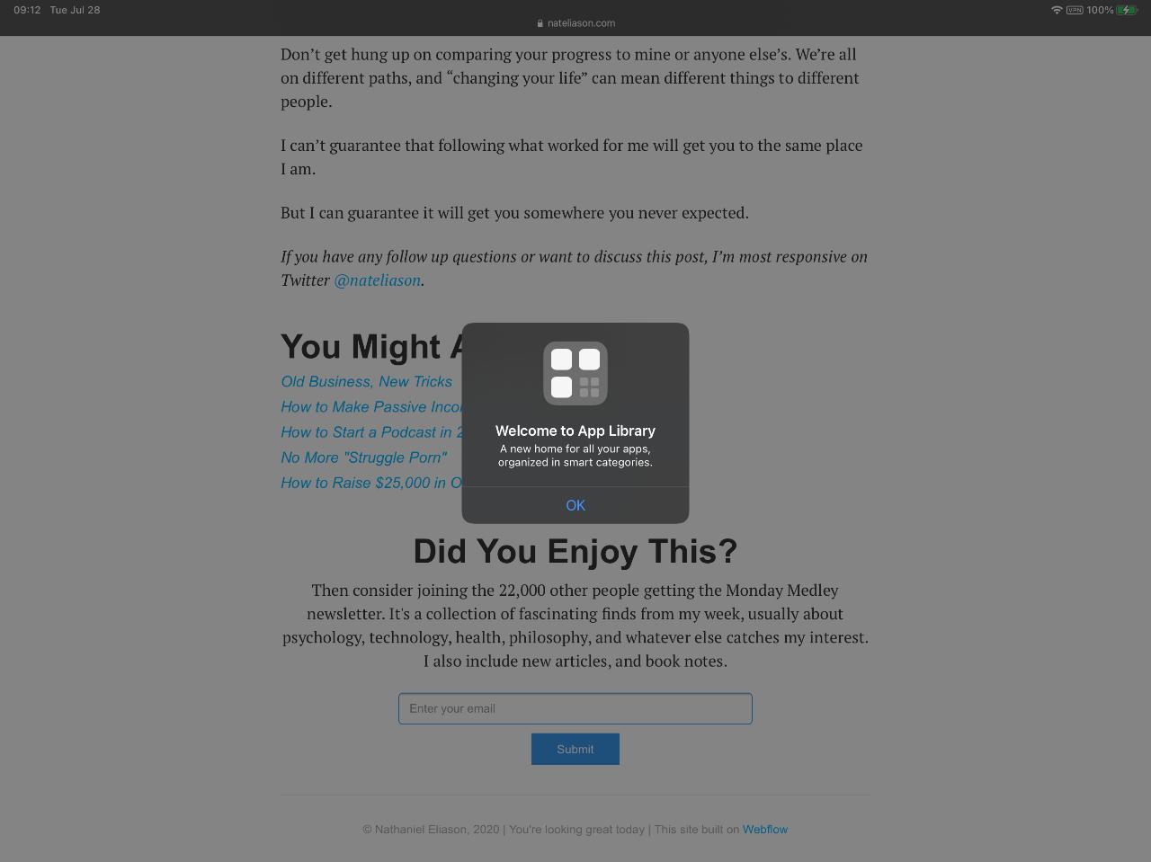 iPadOS 14 App Library Screenshot