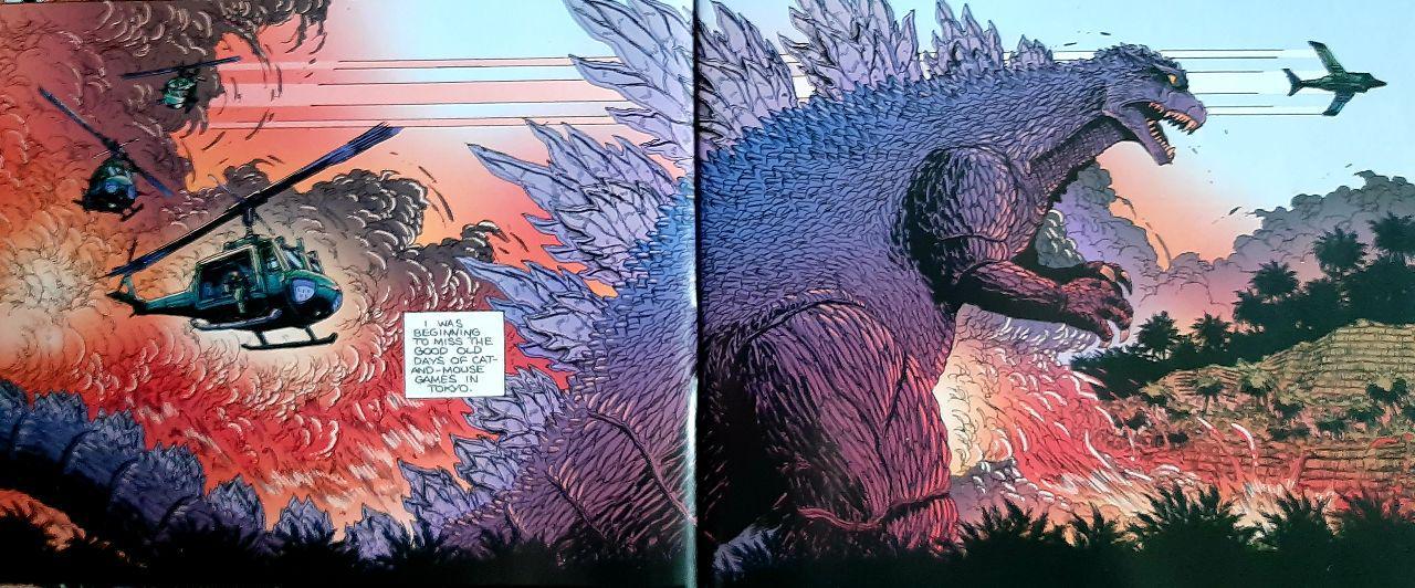 Godzilla progressant à travers une jungle vietnamienne des explosions derrière lui