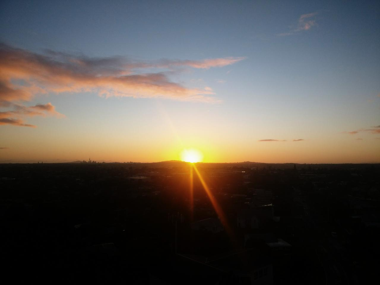 Sunrise, looking towards the centre of Auckland