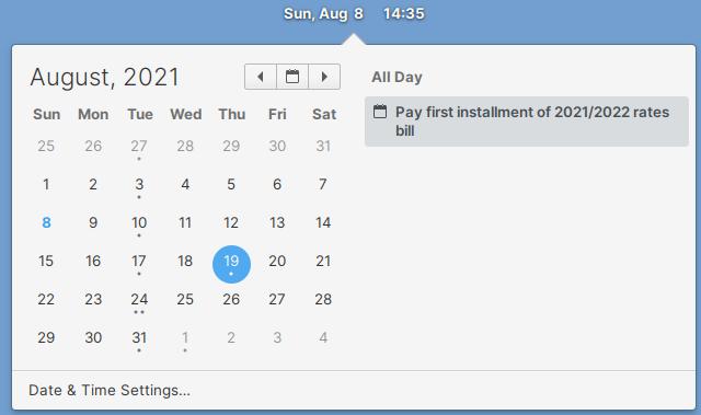 Nextcloud Calendar synced with elementary OS desktop
