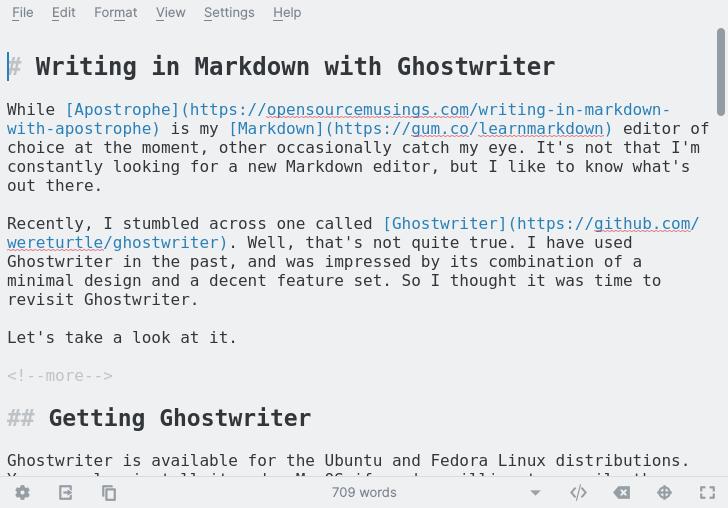 Writing in Ghostwriter