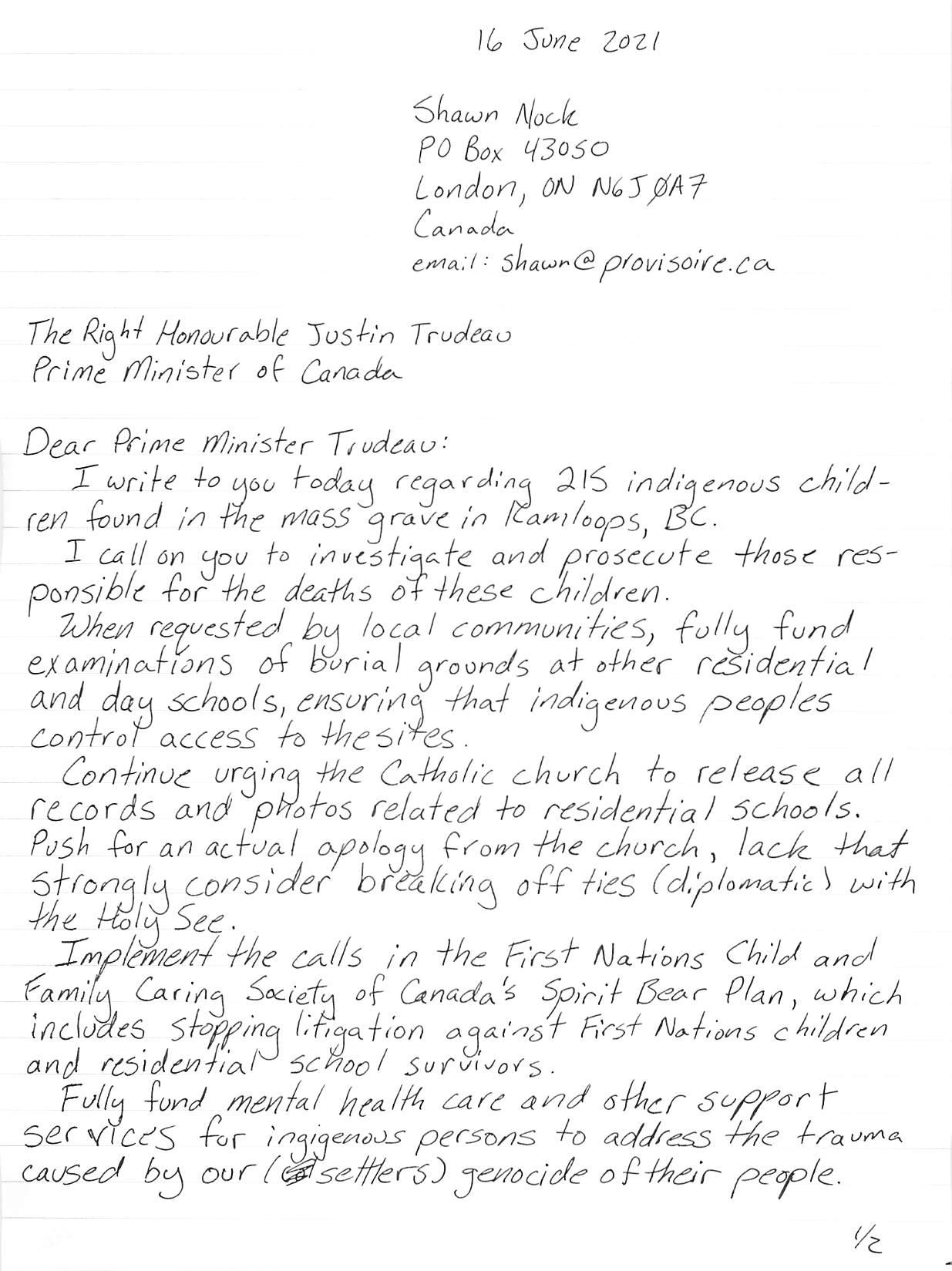 hand-written letter, page 1, transcript follows