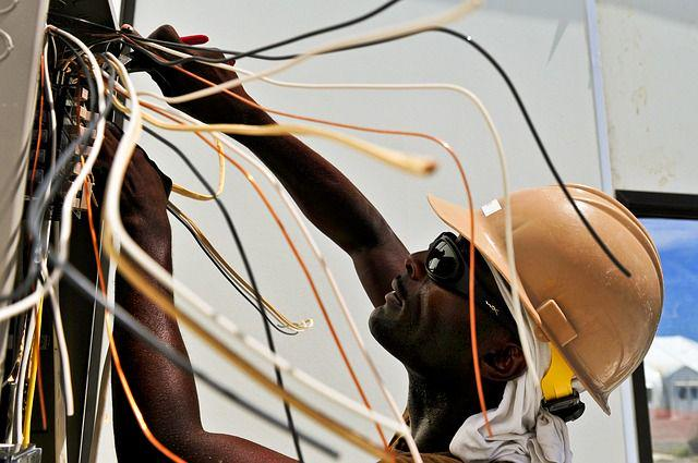 An electrician working on some wiring